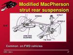 modified macpherson strut rear suspension