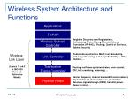 wireless system architecture and functions