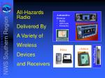 all hazards radio delivered by a variety of wireless devices and receivers
