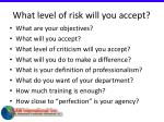 what level of risk will you accept