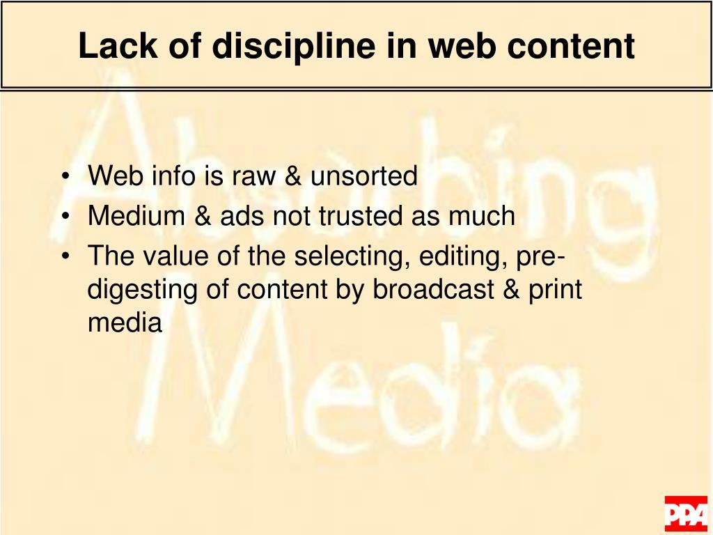 Lack of discipline in web content