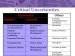 critical uncertainties