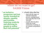 where do we want to go sa2020 vision