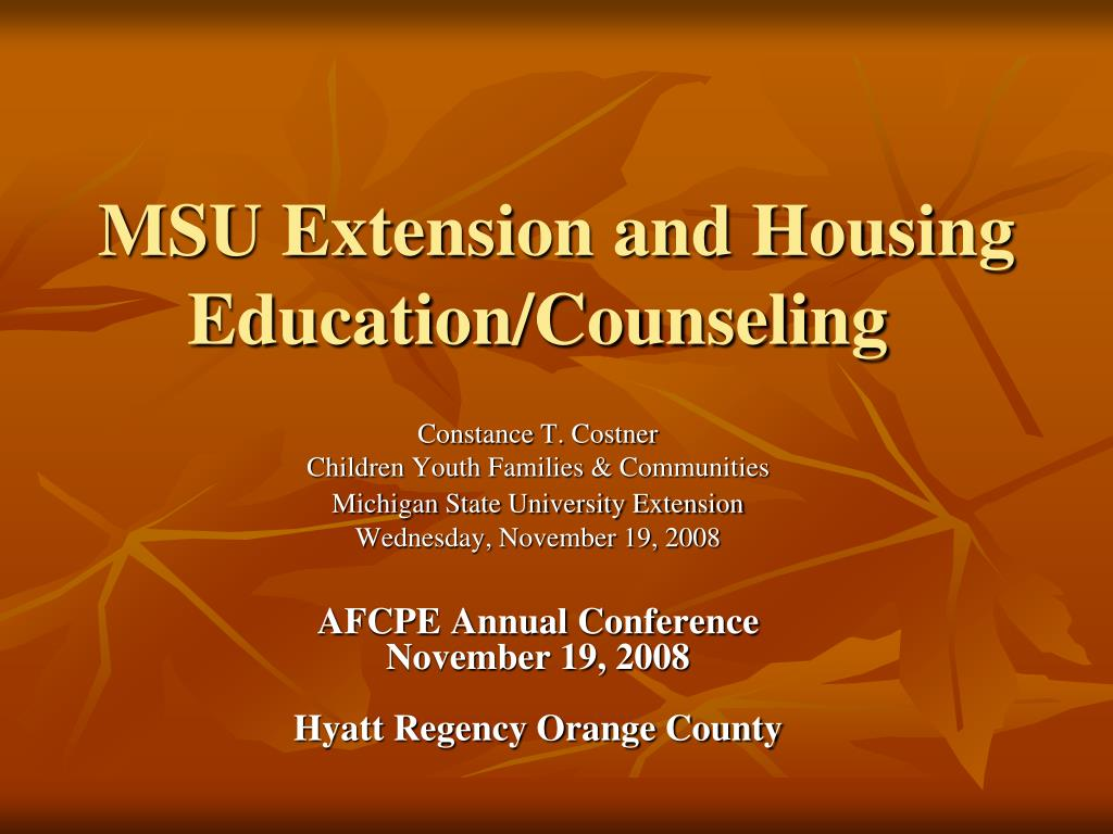msu extension and housing education counseling l.
