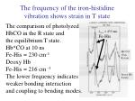 the frequency of the iron histidine vibration shows strain in t state