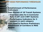 transit mode performance thresholds
