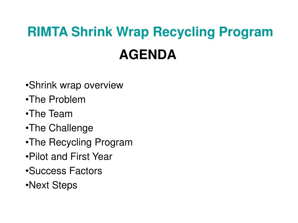 rimta shrink wrap recycling program l.