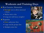 workouts and training days