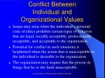 conflict between individual and organizational values18