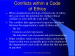 conflicts within a code of ethics