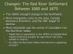 changes the red river settlement between 1860 and 1870