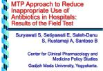 mtp approach to reduce inappropriate use of antibiotics in hospitals results of the field test