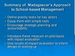 summary of madagascar s approach to school based management