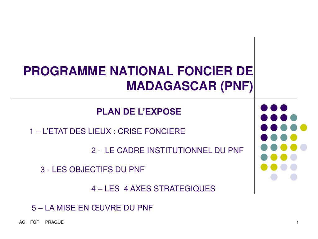 programme national foncier de madagascar pnf l.