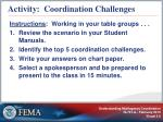 activity coordination challenges