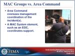 mac groups vs area command