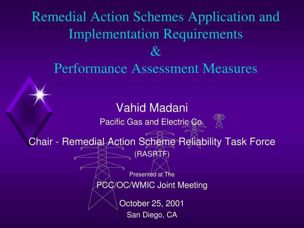 remedial action schemes application and implementation requirements performance assessment measures l.