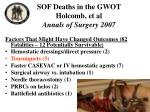 sof deaths in the gwot holcomb et al annals of surgery 2007