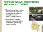responding development needs and air quality issues