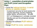 action 1 acquisition of aerial photos and plof local land occupation plan