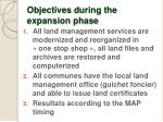 objectives during the expansion phase
