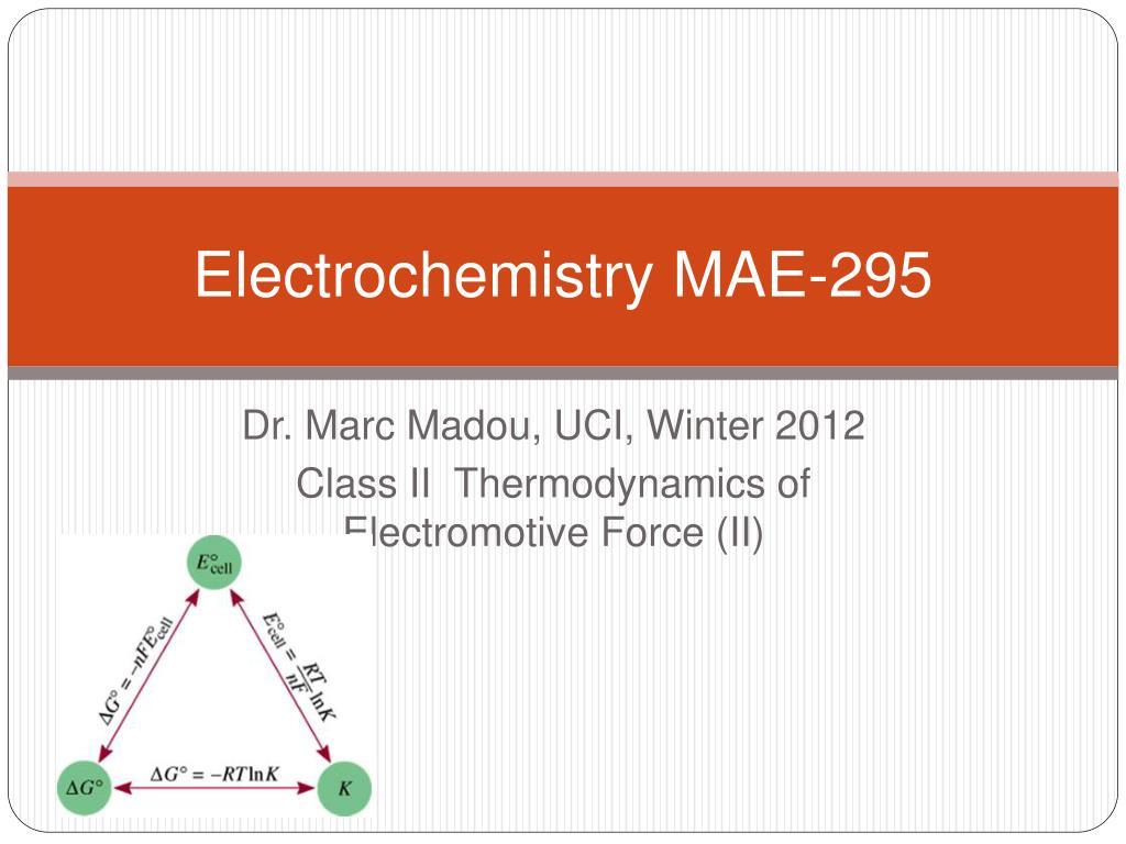 electrochemistry mae 295 l.