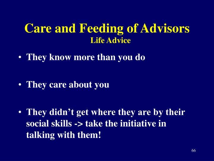 Care and Feeding of Advisors