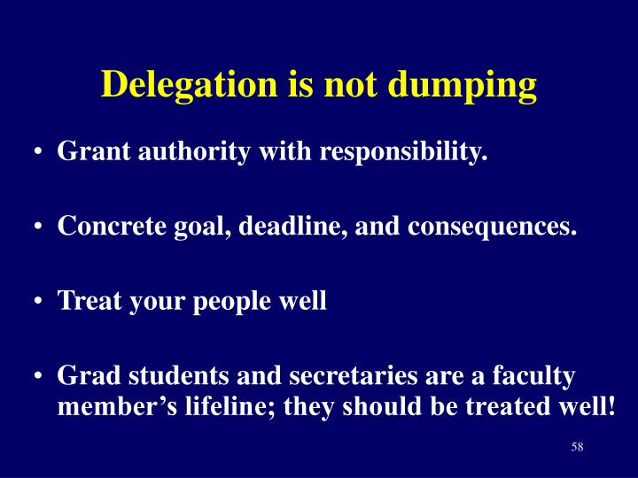 Delegation is not dumping