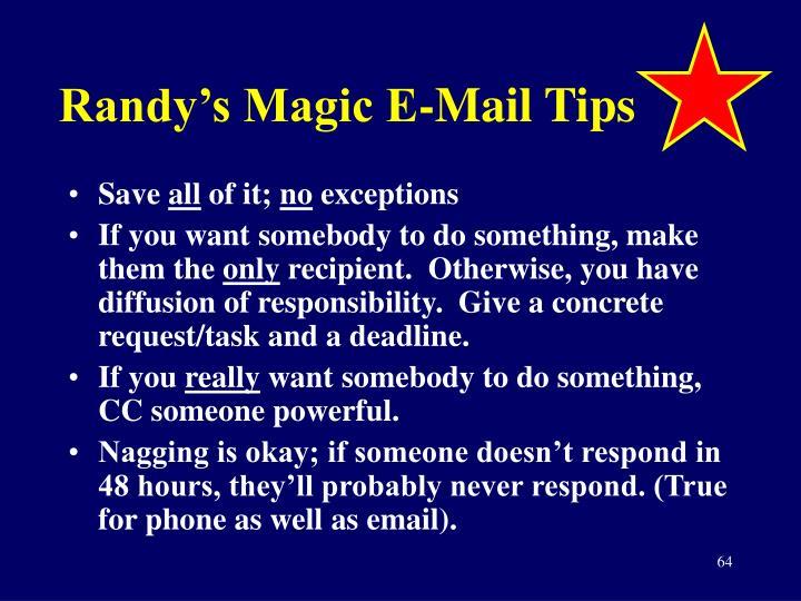 Randy's Magic E-Mail Tips