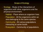 scope of ecology