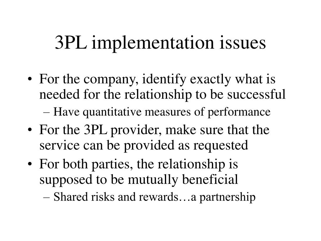 3PL implementation issues