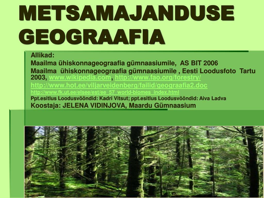 metsamajanduse geograafia l.
