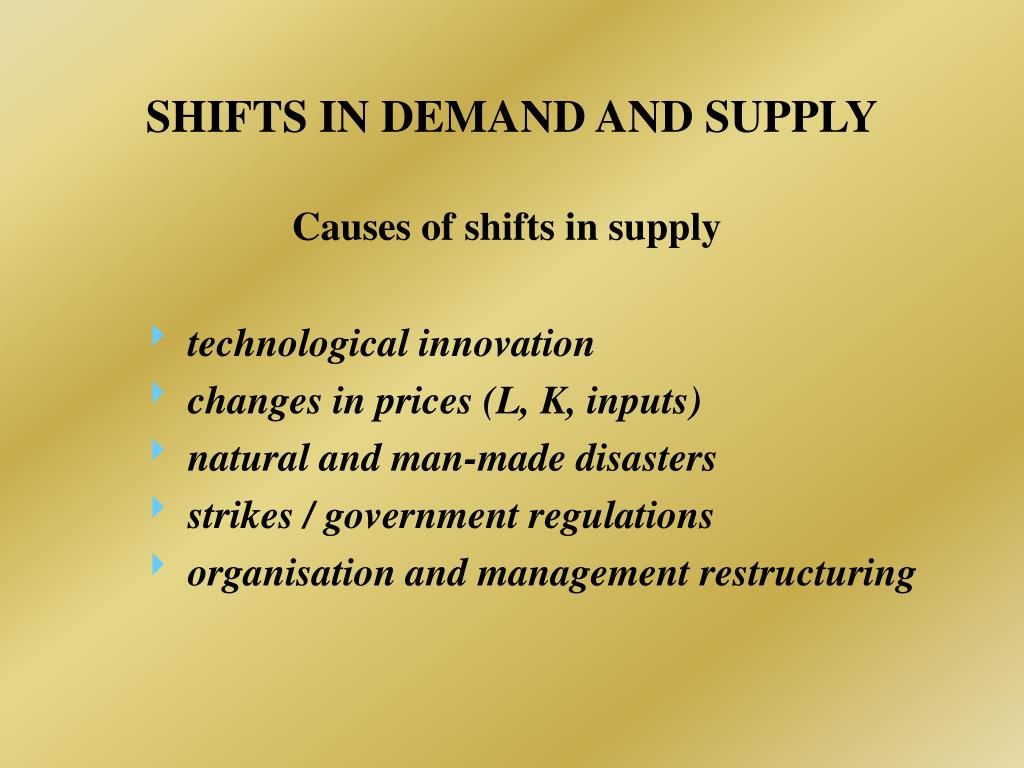 SHIFTS IN DEMAND AND SUPPLY
