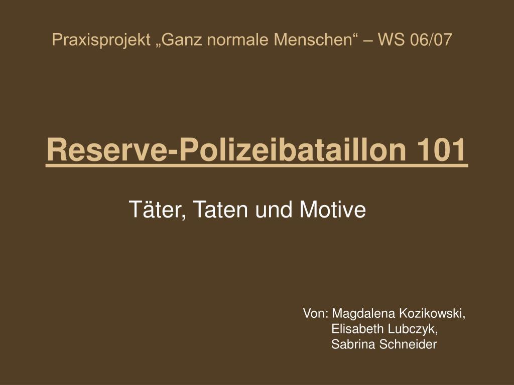reserve polizeibataillon 101 l.