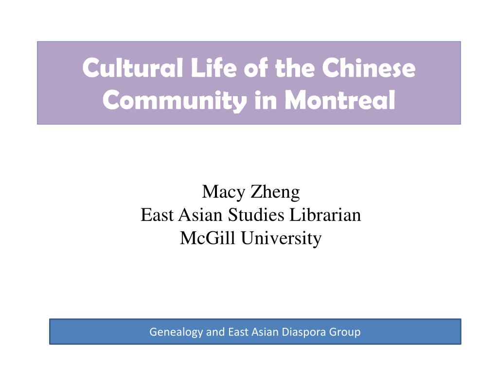 cultural life of the chinese community in montreal l.