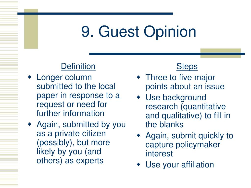 9. Guest Opinion