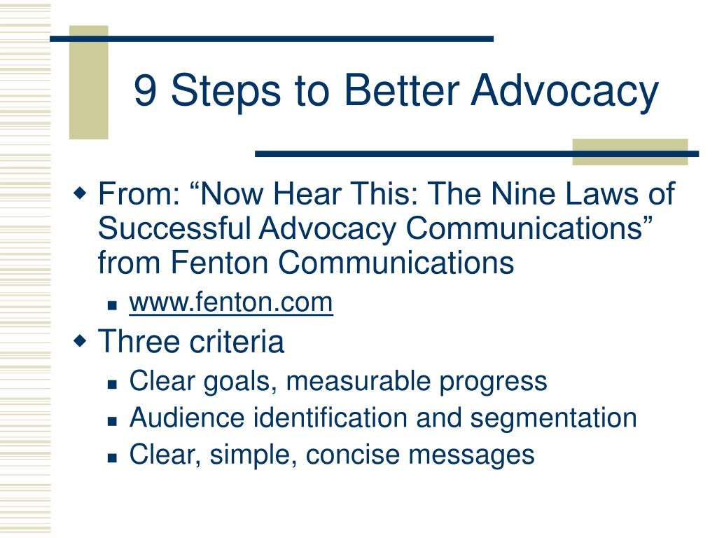 9 Steps to Better Advocacy