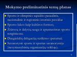 mokymo preliminarinis tem planas