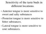 sensitivity of the taste buds in different locations