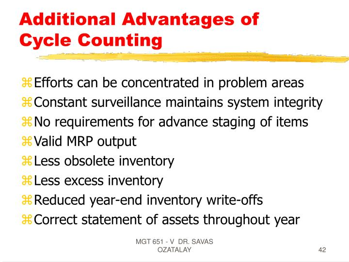 Additional Advantages of Cycle Counting