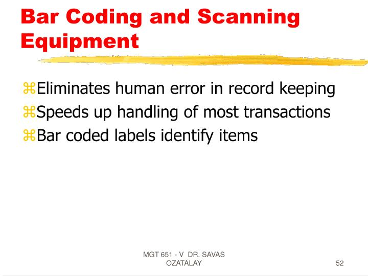 Bar Coding and Scanning Equipment