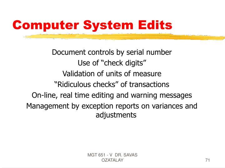 Computer System Edits