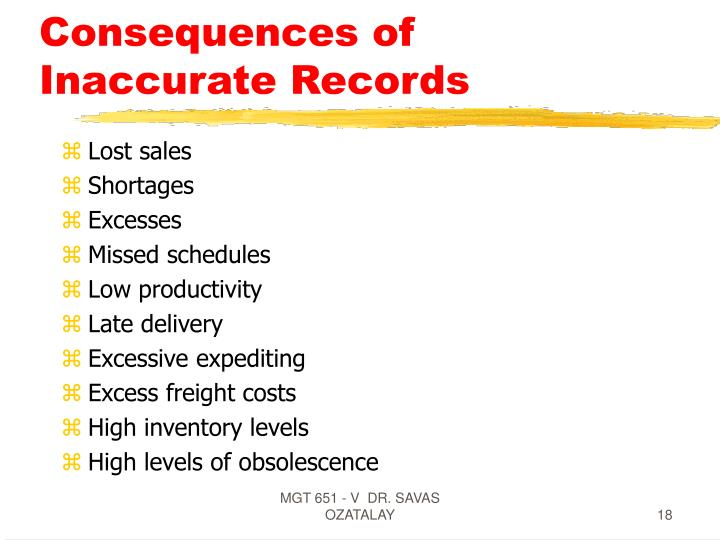 Consequences of Inaccurate Records