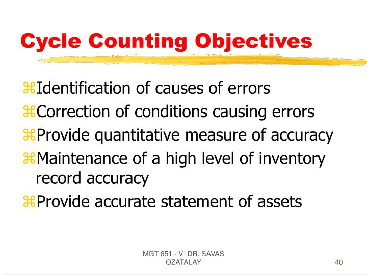 Cycle Counting Objectives