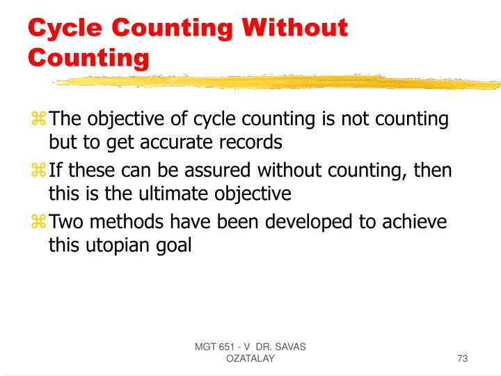 Cycle Counting Without Counting