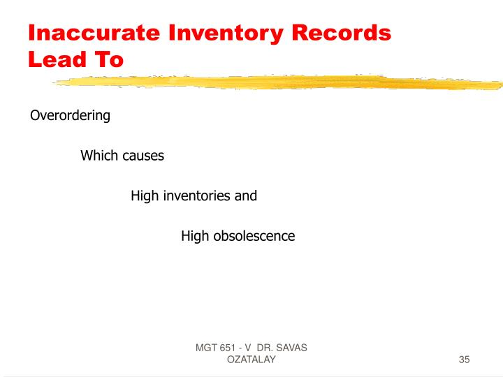 Inaccurate Inventory Records Lead To
