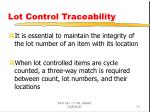 lot control traceability
