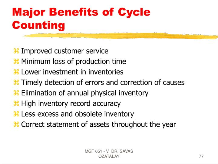 Major Benefits of Cycle Counting