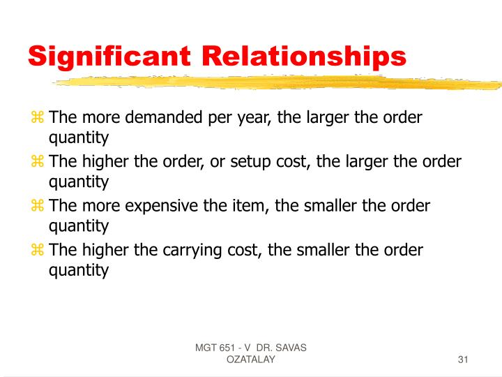 Significant Relationships