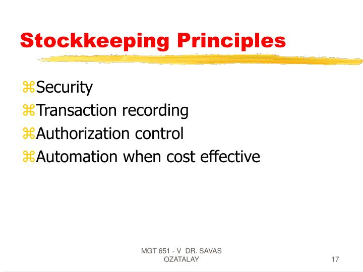 Stockkeeping Principles